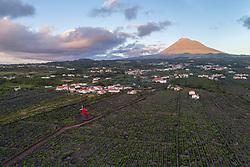 Luftaufnahme der Weingaerten und Windmuehle auf der Insel Pico mit Vulkan Pico im Hintergrund, Azoren / Aerial view of the vineyard on Pico Island with wind mill and volcano Pico in backgraund, Acores