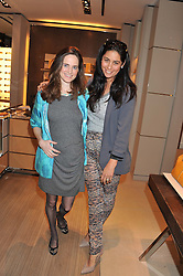 Left to right, ELIZABETH DEEMING and OLIVIA PIROVANO WIRTH at a champagne breakfast hosted by Carolina Gonzalez-Bunster and TOD's in aid of the Walkabout Foundation held at TOD's, 2-5 Old Bond Street, London on 9th May 2013.