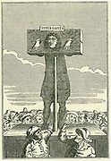 Titus Oates (1649-1705) in the pillory as a punishment for perjury (1685). Oates was the inventor of the Popish Plot, a supposed Roman Catholic conspiracy to kill Charles II.  On his false evidence up to 15 people were executed and many other imprisoned  under suspicion. Engraving.