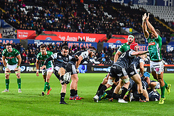 Tom Habberfield of Ospreys clears his line <br /> <br /> Photographer Craig Thomas/Replay Images<br /> <br /> Guinness PRO14 Round 4 - Ospreys v Benetton Treviso - Saturday 22nd September 2018 - Liberty Stadium - Swansea<br /> <br /> World Copyright © Replay Images . All rights reserved. info@replayimages.co.uk - http://replayimages.co.uk