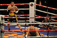 super-middleweight bout.<br /> Paul Smith of Liverpool (standing) v David Sarabia of Spain. 'The second coming'  boxing event at the Motorpoint Arena in Cardiff, South Wales on Sat 17th May 2014. <br /> pic by Andrew Orchard, Andrew Orchard sports photography.