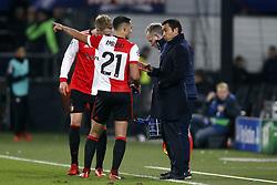 (l-r) Nicolai Jorgensen of Feyenoord, Sofyan Amrabat of Feyenoord, coach Giovanni van Bronckhorst during the UEFA Champions League group F match between Feyenoord Rotterdam and SSC Napoli at the Kuip on December 06, 2017 in Rotterdam, The Netherlands