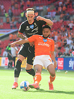 Lincoln City's Lewis Montsma vies for possession with Blackpool's Grant Ward<br /> <br /> Photographer Chris Vaughan/CameraSport<br /> <br /> The EFL Sky Bet League One Play-Off Final - Blackpool v Lincoln City - Sunday 30th May 2021 - Wembley Stadium - London<br /> <br /> World Copyright © 2021 CameraSport. All rights reserved. 43 Linden Ave. Countesthorpe. Leicester. England. LE8 5PG - Tel: +44 (0) 116 277 4147 - admin@camerasport.com - www.camerasport.com