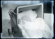 baby sleeping in stroller France circa 1920s
