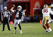 San Diego Chargers quarterback Mike Bercovici (6) throws a deep pass during the 2016 NFL preseason football game against the San Francisco 49ers on Thursday, Sept. 1, 2016 in San Diego. The 49ers won the game 31-21. (©Paul Anthony Spinelli)
