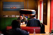 Scene inside the Grey Cat cafe
