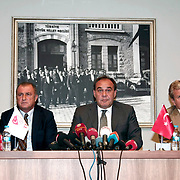 Turkish national soccer team new coach Fatih Terim (2ndL) attend a signing ceremony in Istanbul, Turkey on 22 August 2013. Turkish Football Federation has agreed a 1-year contract with Fatih Terim for Turkish A National Team Head Coach. Terim signed his contract today in TFF Headquarters, Istanbul with the participation of TFF President Yildirim Demiroren (CR), TFF Executive Board and TFF General Secretary. Fatih Terim will take charge of Turkey for the rest of their 2014 FIFA World Cup qualifying campaign, starting next month, while remaining in his role as coach of Galatasaray. Photo by TURKPIX