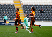 Hull City's Keane Lewis-Potter celebrates after he scores his side's second goal in the 71st minute to make it 2-0 with George Honeyman chasing him<br /> <br /> Photographer Lee Parker/CameraSport<br /> <br /> The EFL Sky Bet League One - Hull City v Oxford United - Saturday 13th March 2021 - KCOM Stadium - Kingston upon Hull<br /> <br /> World Copyright © 2021 CameraSport. All rights reserved. 43 Linden Ave. Countesthorpe. Leicester. England. LE8 5PG - Tel: +44 (0) 116 277 4147 - admin@camerasport.com - www.camerasport.com