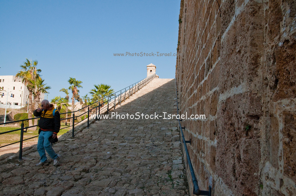 Israel, Western Galilee, the fortified walls of the old City of Acre