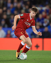 """Liverpool's Ben Woodburn during the Carabao Cup, third round match at the King Power Stadium, Leicester. PRESS ASSOCIATION Photo. Picture date: Tuesday September 19, 2017. See PA story SOCCER Leicester. Photo credit should read: Mike Egerton/PA Wire. RESTRICTIONS: EDITORIAL USE ONLY No use with unauthorised audio, video, data, fixture lists, club/league logos or """"live"""" services. Online in-match use limited to 75 images, no video emulation. No use in betting, games or single club/league/player publications."""