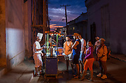 Street food snacks at dusk, Trinidad, Cuba