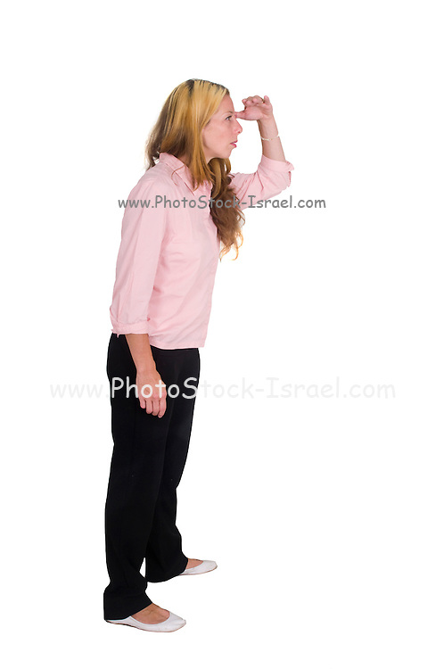 Woman looks out to the future on white background