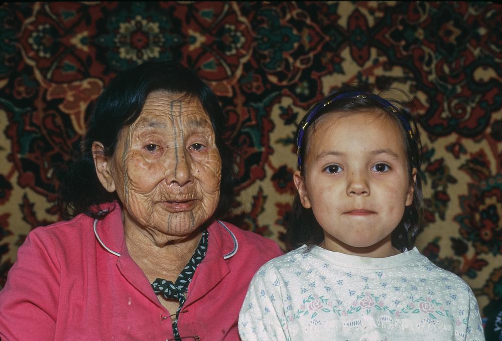 UngaTepeghkaq, Yupik Elder, and grand daughter, Nina, Village of Sireniki, Chukotsk Peninsula, Northeast Russia