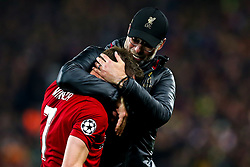 Liverpool manager Jurgen Klopp celebrates with James Milner of Liverpool after victory over Barcelona to make the Champions League Final - Mandatory by-line: Robbie Stephenson/JMP - 07/05/2019 - FOOTBALL - Anfield - Liverpool, England - Liverpool v Barcelona - UEFA Champions League Semi-Final 2nd Leg