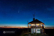 Werner Peak Fire Lookout Tower with NEOWISE comet  in the Stillwater State Forest near Whitefish, Montana, USA