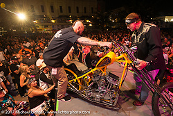 The Twisted Tea chopper end a long tour as the sweepstakes winner of the bike was announced during the Lone Star Rally. Galveston, TX. USA. Saturday November 4, 2017. Photography ©2017 Michael Lichter.