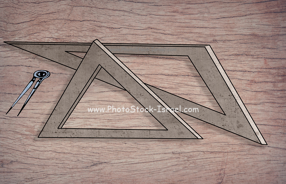 Geometry and science concept illustration with triangular rulers and a compass