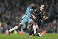 Kelechi Iheanacho (Manchester City) runs into the Celtic penalty box during the Champions League match between Manchester City and Celtic at the Etihad Stadium, Manchester, England on 6 December 2016. Photo by Mark P Doherty.