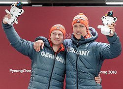 19.02.2018, Olympic Sliding Centre, Pyeongchang, KOR, PyeongChang 2018, Rodeln, Zweisitzer, Herren, Flower Zeremonie, im Bild Francesco Friedrich, Thorsten Margis (GER, 1. Platz) // gold medalist and Olympic champion Francesco Friedrich Thorsten Margis of Germany during the mens doubles Bobsleigh of the Pyeongchang 2018 Winter Olympic Games at the Olympic Sliding Centre in Pyeongchang, South Korea on 2018/02/19. EXPA Pictures © 2018, PhotoCredit: EXPA/ Johann Groder