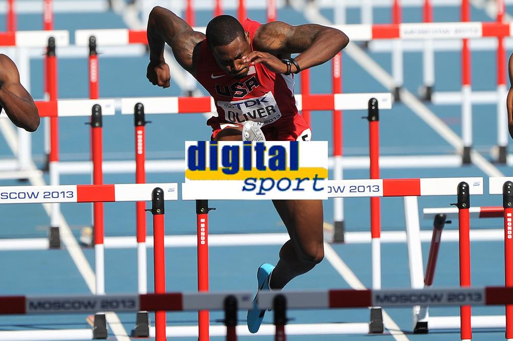 Athletics - IAAF World Championships 2013 - Stadium Loujniki , Moscow , RUSSIA - 10 to 18/08/2013 - Photo STEPHANE KEMPINAIRE / KMSP / DPPI - Day 2 - 11/08/13 - <br /> Men's 110 M Hurdles - David Oliver (USA)