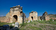 Picture of the ruins of the Byzantine Martyrion of St Philip church and healing centre. Hierapolis archaeological site near Pamukkale in Turkey.<br /> <br /> Martyrion of St Philip. This church with an octagonal core was built at the beginning of the 5th century on the summit of the hill. This is probably where, according to tradition, the Apostlie was martyred. The building has an eight-sided central room surmounted by a wooden cupola. From each of the eight sides of the central space there was access to a rectangular room through three arches supported by marble columns with capitals decorated with acanthus leaves The shape of the central room is a reference to the number eight which symbolists eternity. The church is situated inside a square composed of 28 rooms for housing pilgrims which were accessed from the outside. As in other Byzantine sanctuaries associated with heating powers (eg that of Saints Cosmas and Damian in Constantinople), in these rooms incubation rites were practised: during sleep, the Saint cured the sick and made prophecies concerning the future. .<br /> <br /> If you prefer to buy from our ALAMY PHOTO LIBRARY  Collection visit : https://www.alamy.com/portfolio/paul-williams-funkystock/pamukkale-hierapolis-turkey.html<br /> <br /> Visit our TURKEY PHOTO COLLECTIONS for more photos to download or buy as wall art prints https://funkystock.photoshelter.com/gallery-collection/3f-Pictures-of-Turkey-Turkey-Photos-Images-Fotos/C0000U.hJWkZxAbg