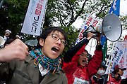 Student activists with Zengakren (All Japan Federation of Students' Autonomous Body) at a demo outside Hosei university, Ichigaya, Tokyo, Japan Friday April 23rd 2010