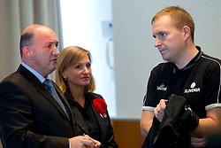 Darijan Kosir, director of Slovenian Government Communication Office and Matej Avanzo of KZS at presentation of Eurobasket Slovenia 2013, on September 8, 2011, in Hotel Novotel,  Vilnius, Lithuania.   (Photo by Vid Ponikvar / Sportida)