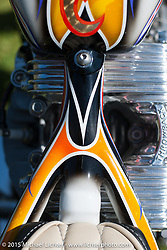 Invited builder Atomic Trent Schara's custom Harley-Davidson Shovelhead on Friday - for the builder-invite bike check-in for the Born-Free 6 Vintage Chopper and Classic Motorcycle Show. Silverado, CA. USA. June 27, 2014.  Photography ©2014 Michael Lichter.