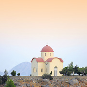 Orthodox church on top of the hill in Selia village, Crete.