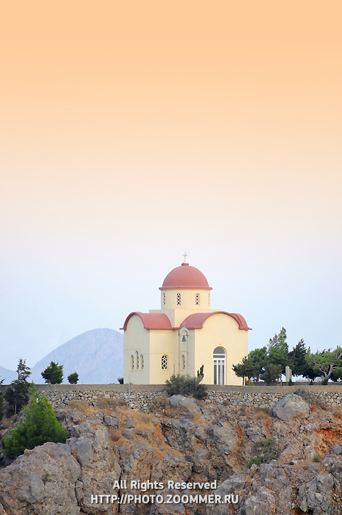 Orthodox church on top of the hill in Selia village, Crete.