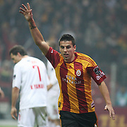 Galatasaray's Milan BAROS celebrate his goal during their Turkish Super League soccer match Galatasaray between Eskisehirspor at the Turk Telekom Arena at Seyrantepe in Istanbul Turkey on Sunday, 06 February 2011. Photo by TURKPIX