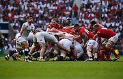England's Danny Care clears the ball from a scrum during the The Old Mutual Wealth Cup match England -V- Wales at Twickenham Stadium, London, Greater London, England on Sunday, May 29, 2016. (Steve Flynn/Image of Sport)