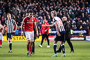 {persons}, M20	Millwall forward Steve Morison (20), C50	Charlton Athletic defender Jorge Teixeira (50)  during the EFL Sky Bet League 1 match between Charlton Athletic and Millwall at The Valley, London, England on 14 January 2017. Photo by Sebastian Frej.