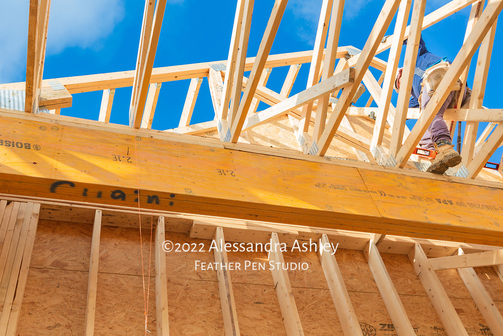 Roof trusses viewed from below, with work in progress at construction site of new physical therapy and wellness clinic.
