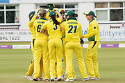 Australia celebrate wicket of Katherine Brunt during the Royal London Women's One Day International match between England Women Cricket and Australia at the Fischer County Ground, Grace Road, Leicester, United Kingdom on 2 July 2019.
