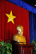 Bust of Ho Chi Minh, with Vietnamese Star. Reunification Palace, Ho Chi Minh City (Saigon), Vietnam