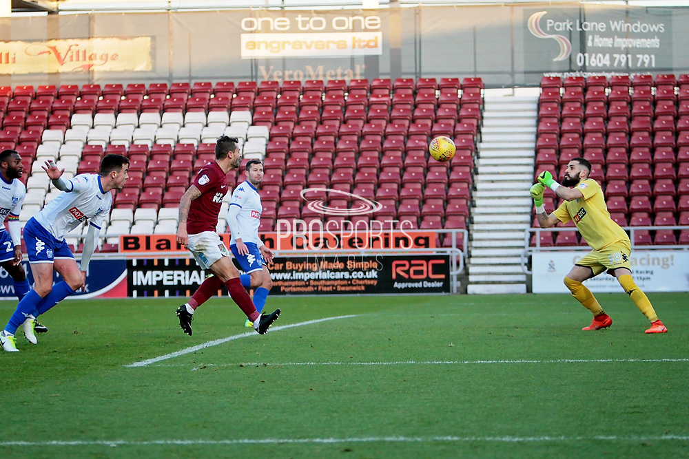 Bury Town goalkeeper Leonardo Fasan (38) punches this cross clear during the EFL Sky Bet League 1 match between Northampton Town and Bury at Sixfields Stadium, Northampton, England on 25 November 2017. Photo by Nigel Cole.