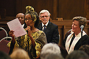 "14 April 2012-Santa Barbara, CA: ""Scripture Readings"", Akivah Northern.  Babatunde Folayemi Memorial Service at First United Methodist Church, 305 East Anapamu Street, Santa Barbara, CA. Family and friends gathered immediately following the service for refreshments and sharing in the Fellowship Hall of the church.<br />