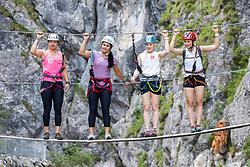26.06.2019, Galitzenklamm, Lienz, AUT, OeSV, Pressetermin Damen Technikgruppe, Trainingskurs im Klettersteig, im Bild v.l. Katharina Huber, Franziska Gritsch, Katharina Truppe, Bernadette Schild // f.l. Katharina Huber Franziska Gritsch Katharina Truppe Bernadette Schild during a press conference of the Austrian Ski Association (ÖSV), Ladies engineering group at the Galitzenklamm in Lienz, Austria on 2019/06/26. EXPA Pictures © 2019, PhotoCredit: EXPA/ Johann Groder