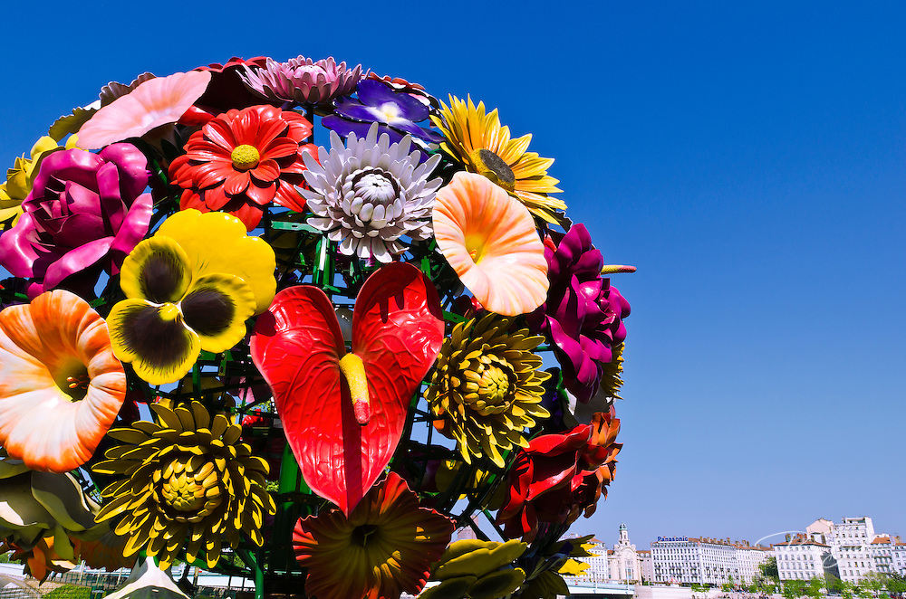 Flower sculpture in Antonin poncet square, Lyon, France (UNESCO World Heritage Site)