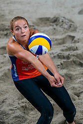 Emi van Driel in action during the third day of the beach volleyball event King of the Court at Jaarbeursplein on September 11, 2020 in Utrecht.
