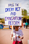 23 APRIL 2011 - PHOENIX, AZ: An immigrants' rights supporter in Phoenix Saturday. About 500 immigrants' rights supporters marched through Phoenix, AZ, Saturday, April 23 to protest the first anniversary of SB1070, Arizona's tough anti-immigrant law. The law was signed by Gov Jan Brewer on April 23, 2010. The federal courts have blocked implentation of the law on constitutional grounds and it has yet to be enforced.     Photo by Jack Kurtz