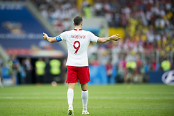 June 19, 2018 - Moscow - Robert Lewandowski of Poland asks supporters for support during the 2018 FIFA World Cup Group H match between Poland and Senegal at Spartak Stadium in Moscow, Russia on June 19, 2018  (Credit Image: © Andrew Surma/NurPhoto via ZUMA Press)