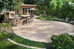 1945 MacArthur stone patio with outdoor kitchen