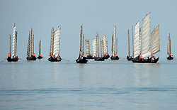 KUNMING, Sept. 13, 2016 (Xinhua) -- Boats set sail for fishing on the Dianchi Lake in Kunming, capital of southwest China's Yunnan Province, Sept. 13, 2016. Dianchi Lake officially opened for fishing on Tuesday. This year, fishing is divided into two periods. During the first period from Sept. 13 to 24, fishermen can catch big fish. While during the second period from Sept. 29 to Oct. 23, they can fish for whitebaits and shrimps.    (Xinhua/Lin Yiguang) (wyo) (Credit Image: © Lin Yiguang/Xinhua via ZUMA Wire)