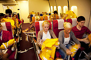 CRAWLEY, WEST SUSSEX, UK, OCTOBER 27TH 2011. Virgin Atlantic air stewardess and steward training at The Base training facility. (Photo by Mike Kemp for The Washington Post)