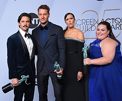 2019 SAG Awards - Pressroom. 27 Jan 2019 Pictured: Milo Ventimiglia, Justin Hartley, Mandy Moore and Chrissy Metz. Photo credit: OConnor-Arroyo / AFF-USA.com / MEGA TheMegaAgency.com +1 888 505 6342