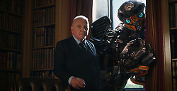 Left to right: Sir Anthony Hopkins as Sir Edmound Burton and Hot Rod in TRANSFORMERS: THE LAST KNIGHT, from Paramount Pictures.