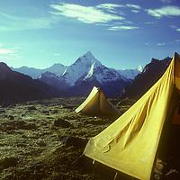 Camp in Dzongla Meadows near Cho La pass, Ama Dablam bkg. Khumbu Region.