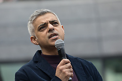 © Licensed to London News Pictures. 05/03/2017. LONDON, UK.  Sadiq Khan, Mayor of London speaking to feminist activists at the March4Women, organised by CARE International to mark International Women's Day. The Women's Day March begins at The Scoop near City Hall, before proceeding over Tower Bridge and finishing at the Tower of London. Photo credit: Vickie Flores/LNP
